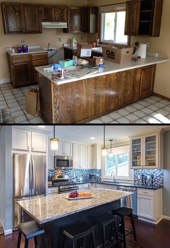 Split level kitchen before after for 1970 s split level remodel